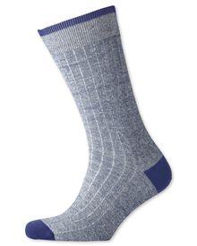Navy linen blend socks