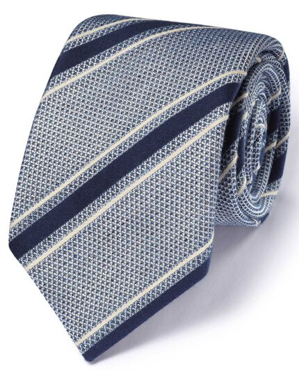 Blue & white silk mix Italian luxury stripe grenadine tie