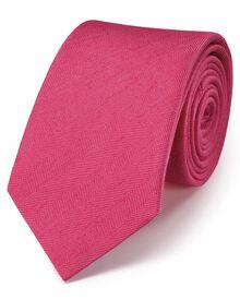 Coral classic herringbone plain tie