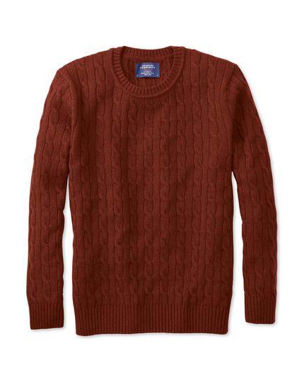 Burnt orange lambswool cable knit crew neck jumper