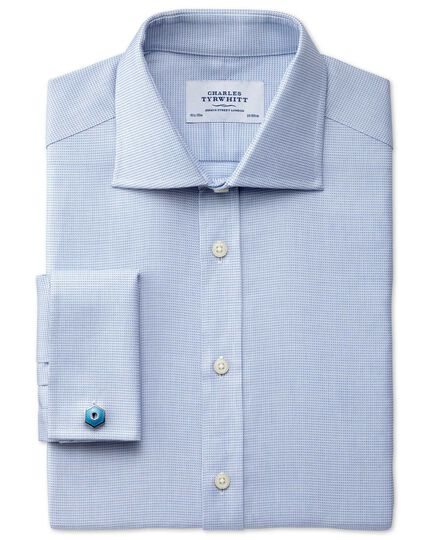 Extra slim fit semi-spread collar Regency weave sky blue shirt