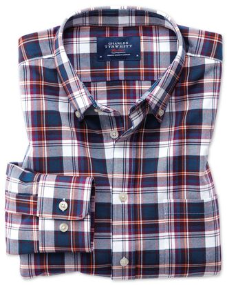 Slim fit button-down washed Oxford white multi check shirt