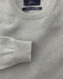Light grey cotton cashmere crew neck jumper