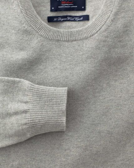 Light grey cotton cashmere crew neck sweater