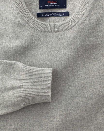 Light grey cotton cashmere crew neck jumper