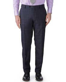 Blue check slim fit flannel business suit trousers