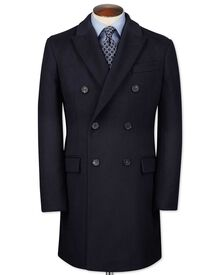 Navy wool and cashmere double breasted overcoat