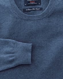 Blue cotton cashmere crew neck jumper