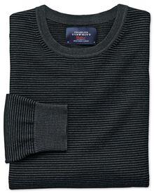 Pull noir et gris en laine mérinos avec col rond