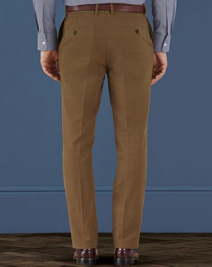 Camel slim fit brushed canvas stretch trousers