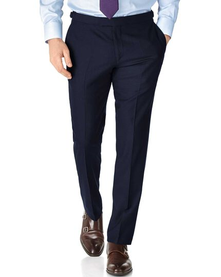Slim Fit British-Serge Luxusanzug Hose in marineblau
