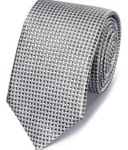 Grey silk diamond lattice classic tie