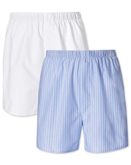 2er Pack Boxers in himmelblau und weiß mit Streifen