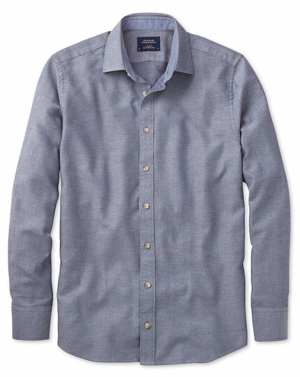 Classic fit denim blue washed textured shirt