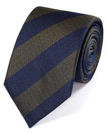 Navy and green silk block stripe classic tie