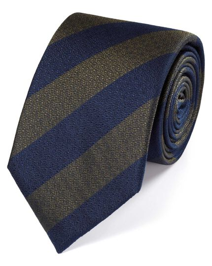 Navy and green silk block stripe classic tie