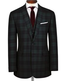 Green and black tartan slim fit jacket