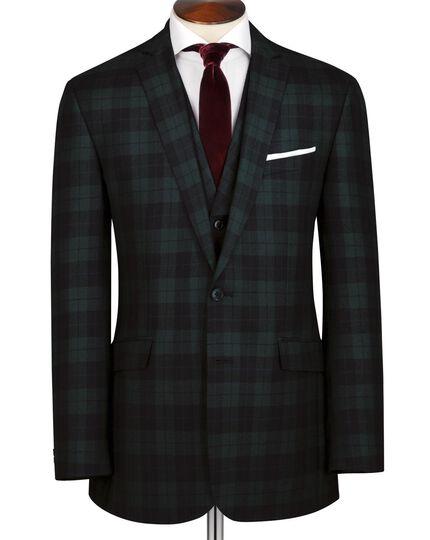 Green and black tartan slim fit jacket