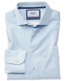 Classic fit semi-cutaway collar business casual white and blue diamond print shirt