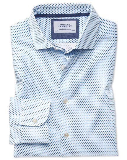 Slim fit business casual semi-cutaway collar diamond print white and blue shirt