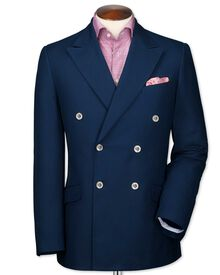 Slim fit navy double breasted Italian cotton blazer