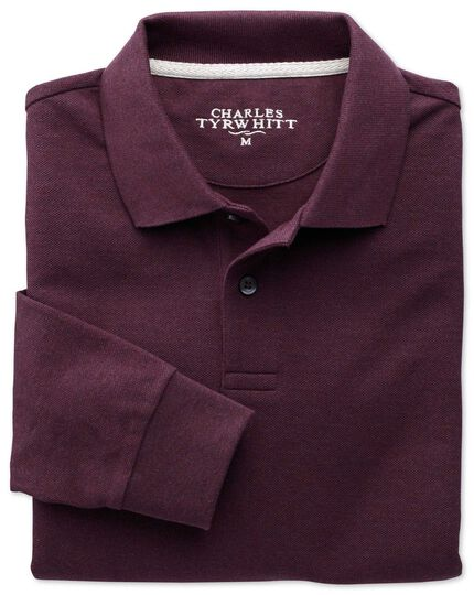 Dark red pique long sleeve polo