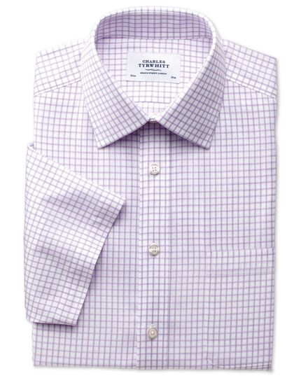 Slim fit non-iron windowpane short sleeve lilac shirt
