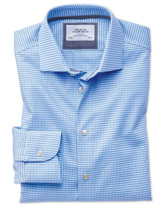 Classic fit semi-cutaway business casual non-iron modern textures sky blue shirt