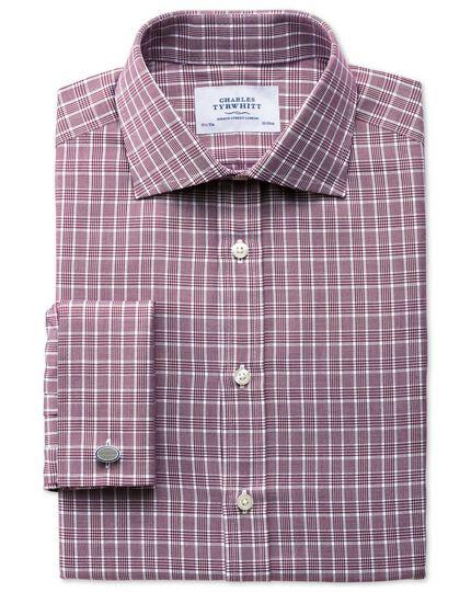 Slim Fit Hemd aus Panamagewebe in BeerenRot mit Prince-of-Wales-Karos