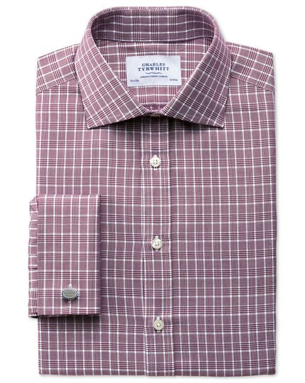 Slim fit Prince of Wales basketweave berry shirt