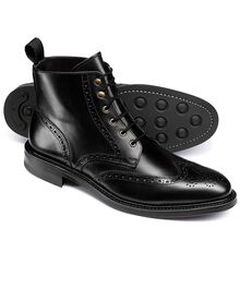 Black Woolston brogue wing tip boots