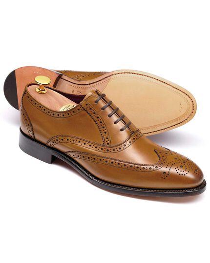Ashton Budapester Oxford-Schuh mit Flügelkappen aus Kalbsleder in Gelbbraun