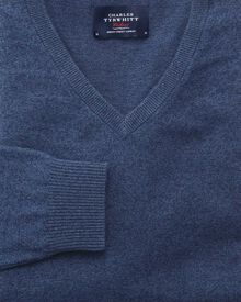Indigo cotton cashmere v-neck jumper