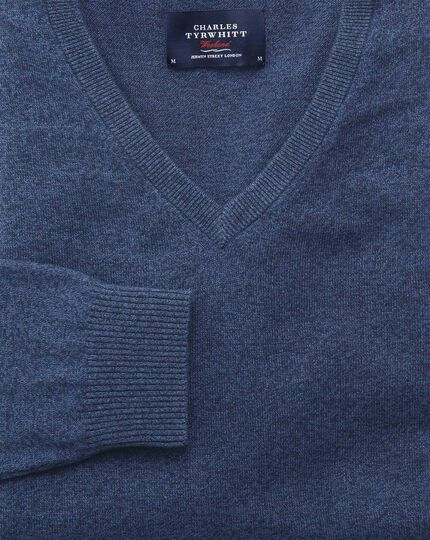 Indigo cotton cashmere v-neck sweater
