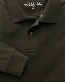 Dark green pique long sleeve polo