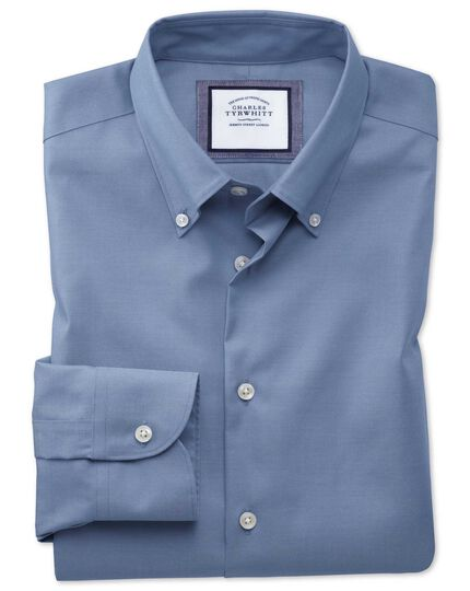 Extra slim fit button-down collar non-iron business casual mid blue shirt