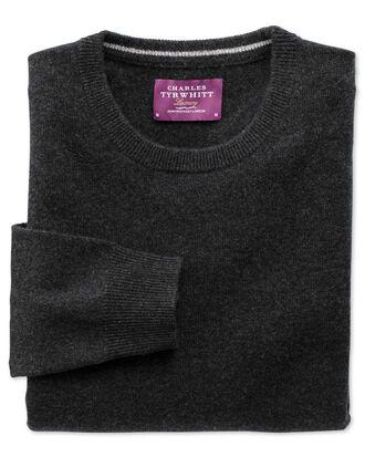 Charcoal cashmere crew neck jumper