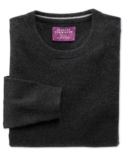 Charcoal cashmere crew neck sweater