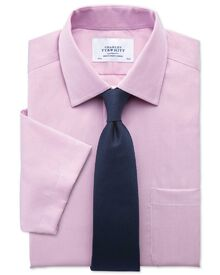 Slim fit non iron short sleeve pinpoint stripe pink shirt