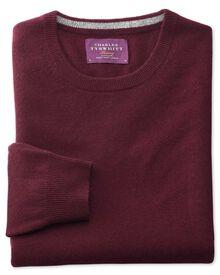 Wine cashmere crew neck sweater