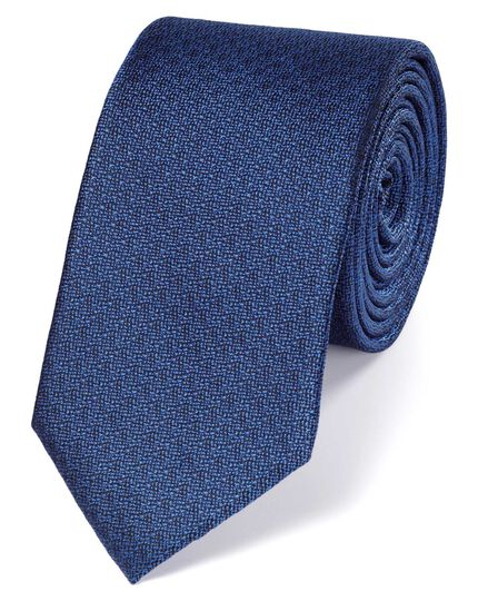 Slim royal blue silk textured plain classic tie