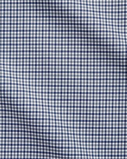 Extra Slim Fit Business-Casual Hemd in Marineblau und Grau mit Gingham-Karos