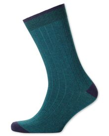 Teal ribbed socks