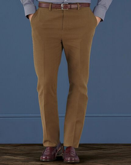 Camel slim fit brushed canvas stretch pants