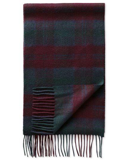 Burgundy check cashmere scarf