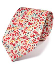 Pink and blue cotton luxury Italian floral tie
