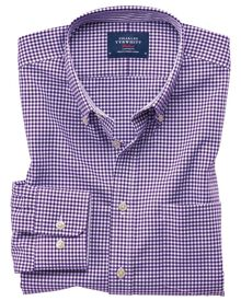 Slim fit button-down non-iron Oxford gingham purple shirt