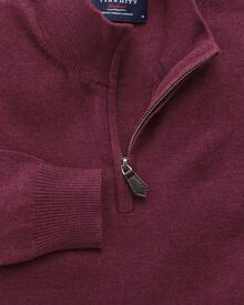 Wine cotton cashmere zip neck sweater