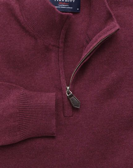 Wine cotton cashmere zip neck jumper