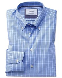 Bügelfreies Extra Slim Fit Business-Casual Hemd mit Button-down Kragen in Hellblau mit Prince-of-Wales-Karos